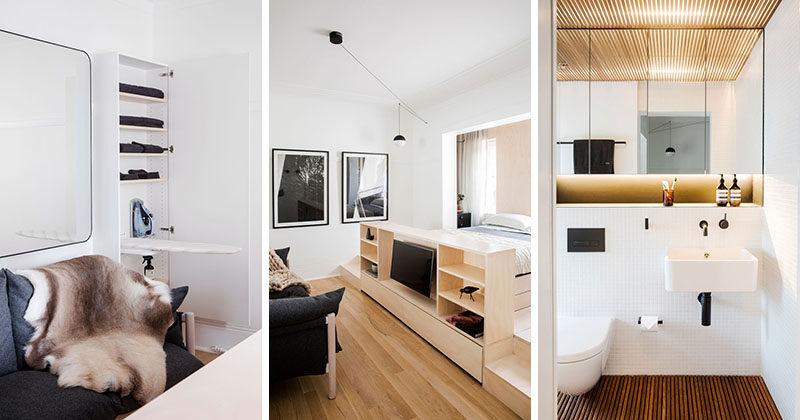 Архитектор Prineas разработал эту крошечную квартиру в Сиднее, Австралия, который соответствует все в интерьер, который измеряет в на 236 квадратных футов (22м2), и предназначен, как для краткосрочного пребывания бутик-номер.