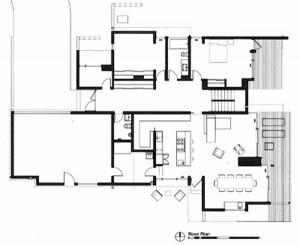 План проект коттеджа. Первый этаж, столовая, кухня, гостиная.