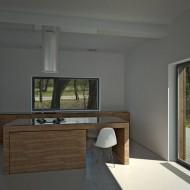 Внутренние интерьеры коттеджа. Кухня на первом этаже