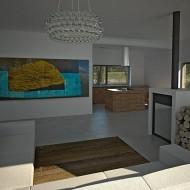 Дизайн интерьров коттеджа. Вид на кухню из гостиной. Камин