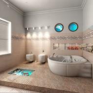 Внутренние интерьеры коттеджа. Просторная ванная комната фото с сайта http://www.ecotectura.ru/ строительство и архитектура коттеджей.