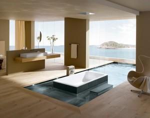 Современная ванная комната в коттедже