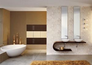 Современный дизайн ванной комнаты в коттедже