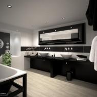 Современный дизайн ванной комнаты в черно-белой гамме фото с сайта http://www.ecotectura.ru/ строительство и архитектура коттеджей.