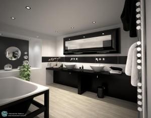 Современный дизайн ванной комнаты в черно-белой гамме