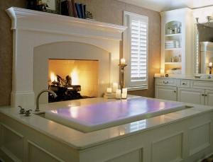 Дизайн внутренних интерьеров коттеджа. Ванная комната в классическом стиле