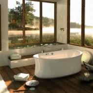 Дизайн ванной комнаты. Отдельно стоящая высокая ванна фото с сайта http://www.ecotectura.ru/ строительство и архитектура коттеджей.