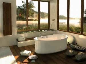 Дизайн ванной комнаты. Отдельно стоящая высокая ванна