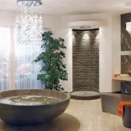 Интерьер ванной комнаты в коттедже. Овальная ванна фото с сайта http://www.ecotectura.ru/ строительство и архитектура коттеджей.