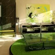 Прозрачная ванная из стекла в интерьере коттеджа фото с сайта http://www.ecotectura.ru/ строительство и архитектура коттеджей.