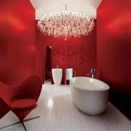 Внутренняя отделка коттеджа. Ванна в красных тонах фото с сайта http://www.ecotectura.ru/ строительство и архитектура коттеджей.