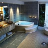 Большая угловая ванна в коттедже фото с сайта http://www.ecotectura.ru/ строительство и архитектура коттеджей.
