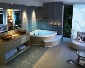 Большая угловая ванна в коттедже