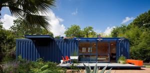 Мини дом из контейнеров общий вид, врезанные окна
