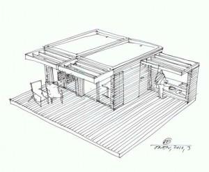 Проект маленького деревянного дома из модулей