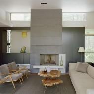 Дизайн интерьера коттеджа. Гостиная с камином