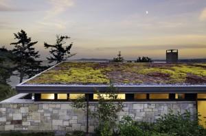 Общий вид коттеджа со стороны холма. Крыша покрытая дерном