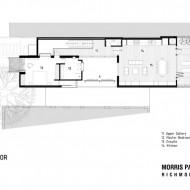 План первого этажа с расположением комнат и жилых зон в городском коттедже