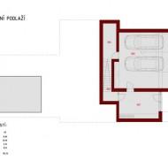 План подземного уровня с гаражами в коттедже