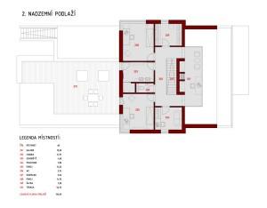 План второго этажа коттеджа с расположением всех комнат