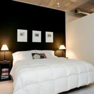 Контраст черного и белого в дизайне спальни в коттедже