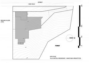План большого современного коттеджа на местности
