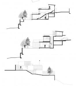 Современный трехъэтажный коттедж в поперечном рарезе