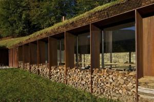 Общий вид одноэтажного коттеджа в склоне холма с панорамным остеклением
