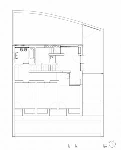 План верхнего этажа коттеджа с открытой террасой на плоской крыше