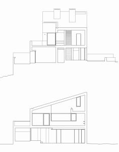 Проект современного коттеджа вид в разрезе