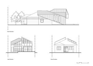 Дом в трех проекциях, чертеж современного коттеджа