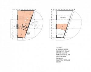 План комнат в современном коттедже - студии