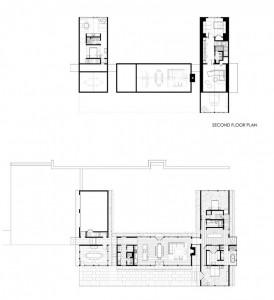 План 2-этажного коттеджа с расположением комнат