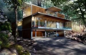 Пример современного дома, построенного из модулей